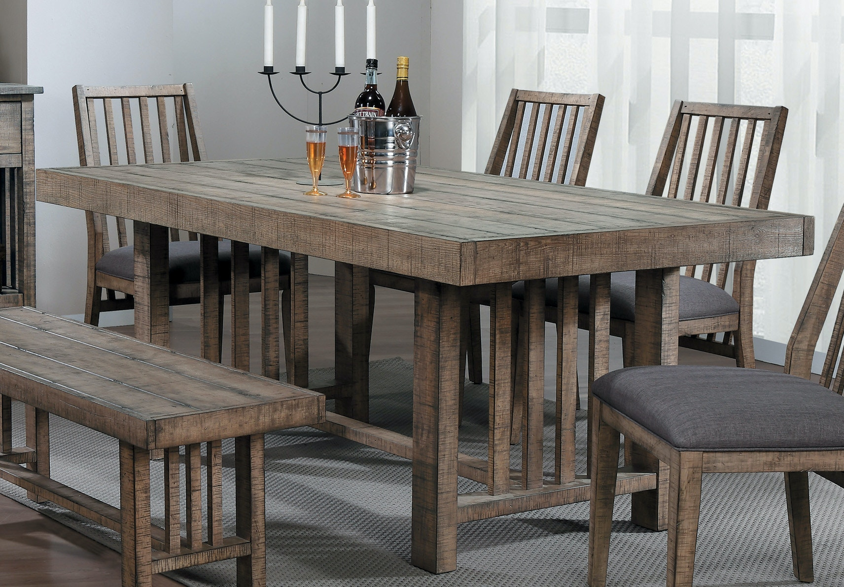 Homelegance Dining Table, Barn Wood Distressed Ash Veneer 5544 72