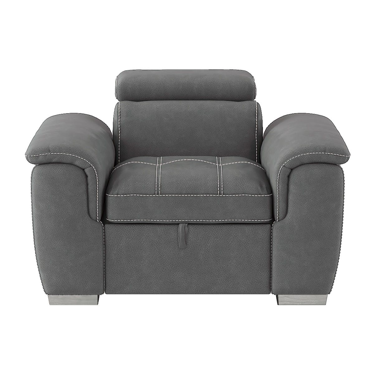 Picture of: Homelegance Living Room Chair With Pull Out Ottoman 8228gy 1 Evans Furniture Galleries Chico