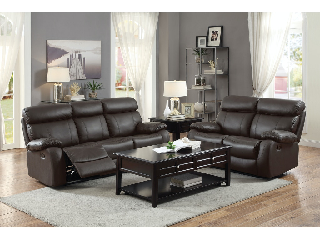 Homelegance Living Room Double Rclnr Sofa 8326brw 3 Evans Furniture Galleries Chico Yuba
