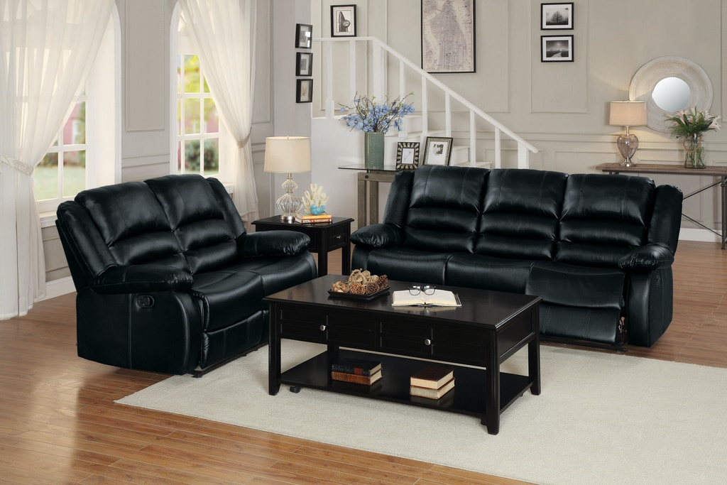 Homelegance Living Room Double Recliner Sofa 8329BLK-3 ...