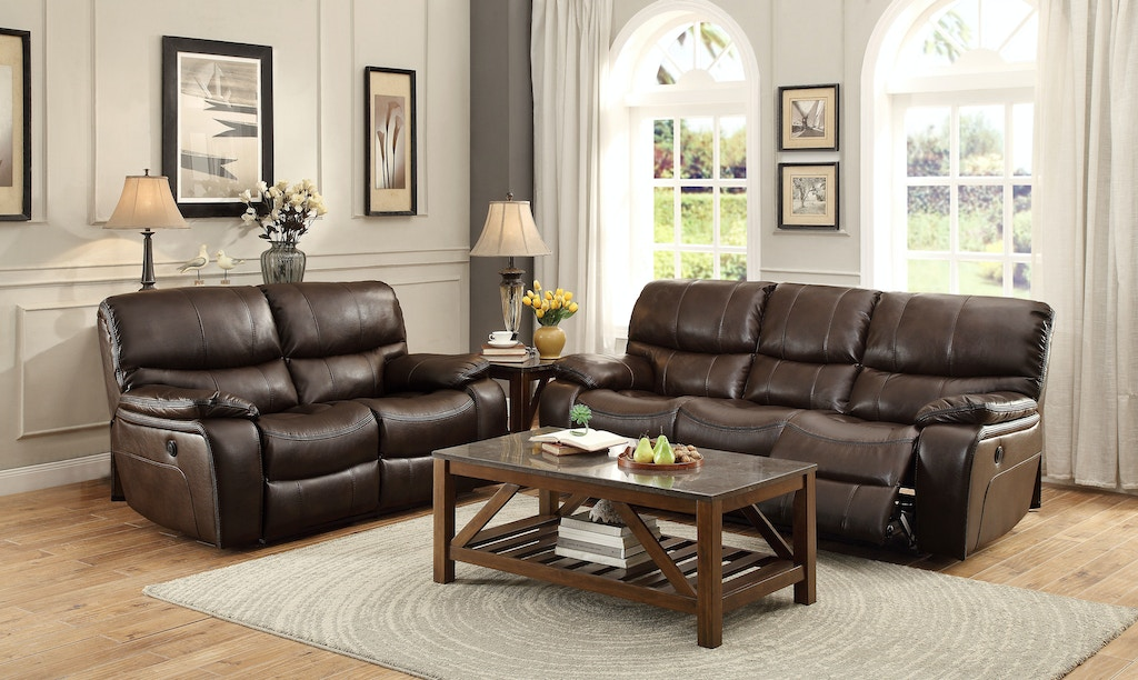 Magnificent Homelegance Living Room Power Double Reclining Sofa 8480Brw Alphanode Cool Chair Designs And Ideas Alphanodeonline