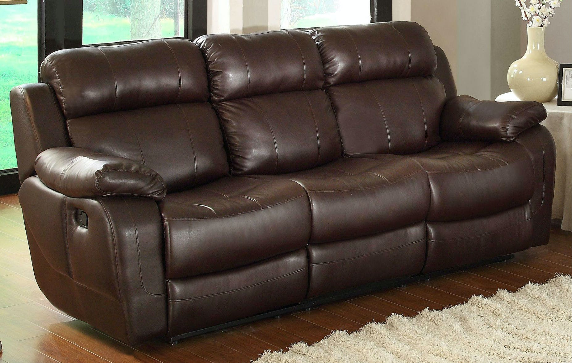 Picture of: Homelegance Living Room Double Reclining Sofa With Center Drop Down Cup Holders 9724brw 3