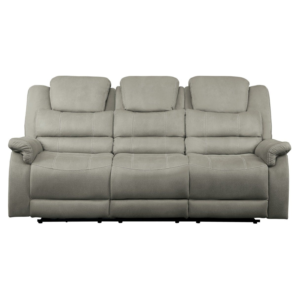 Picture of: Homelegance Living Room Double Reclining Sofa With Drop Down Cup Holders And Receptacles 9848gy 3