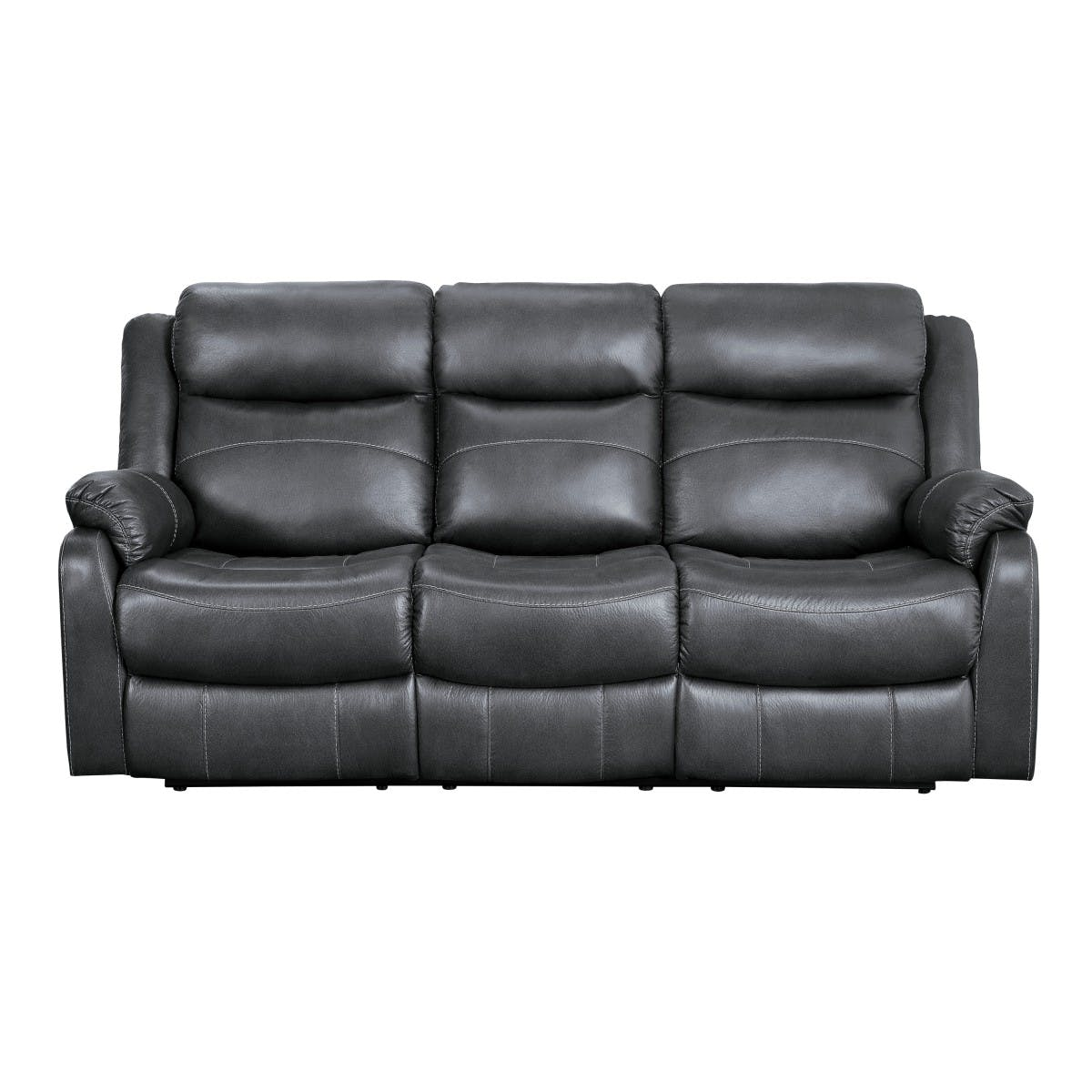 Picture of: Homelegance Living Room Double Lay Flat Reclining Sofa With Center Drop Down Cup Holders 9990gy 3