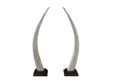 Maitland-Smith Pair Of Clam Stone Inlaid Tusks 1000-480