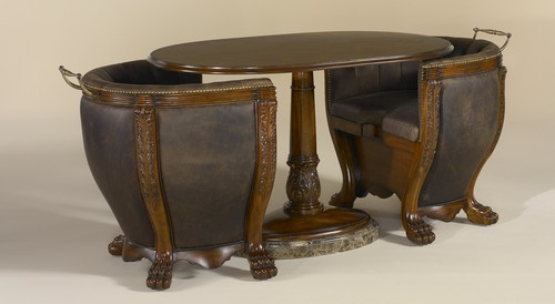 Maitland Smith Aged Regency Finish Occasional Table With Old Attic Leather  Upholstered Chairs End Table