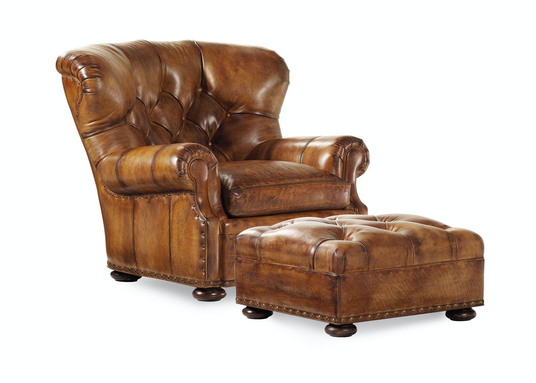 Hancock And Moore Living Room Chair And Ottoman Han4690 Walter E Smithe Furniture Design