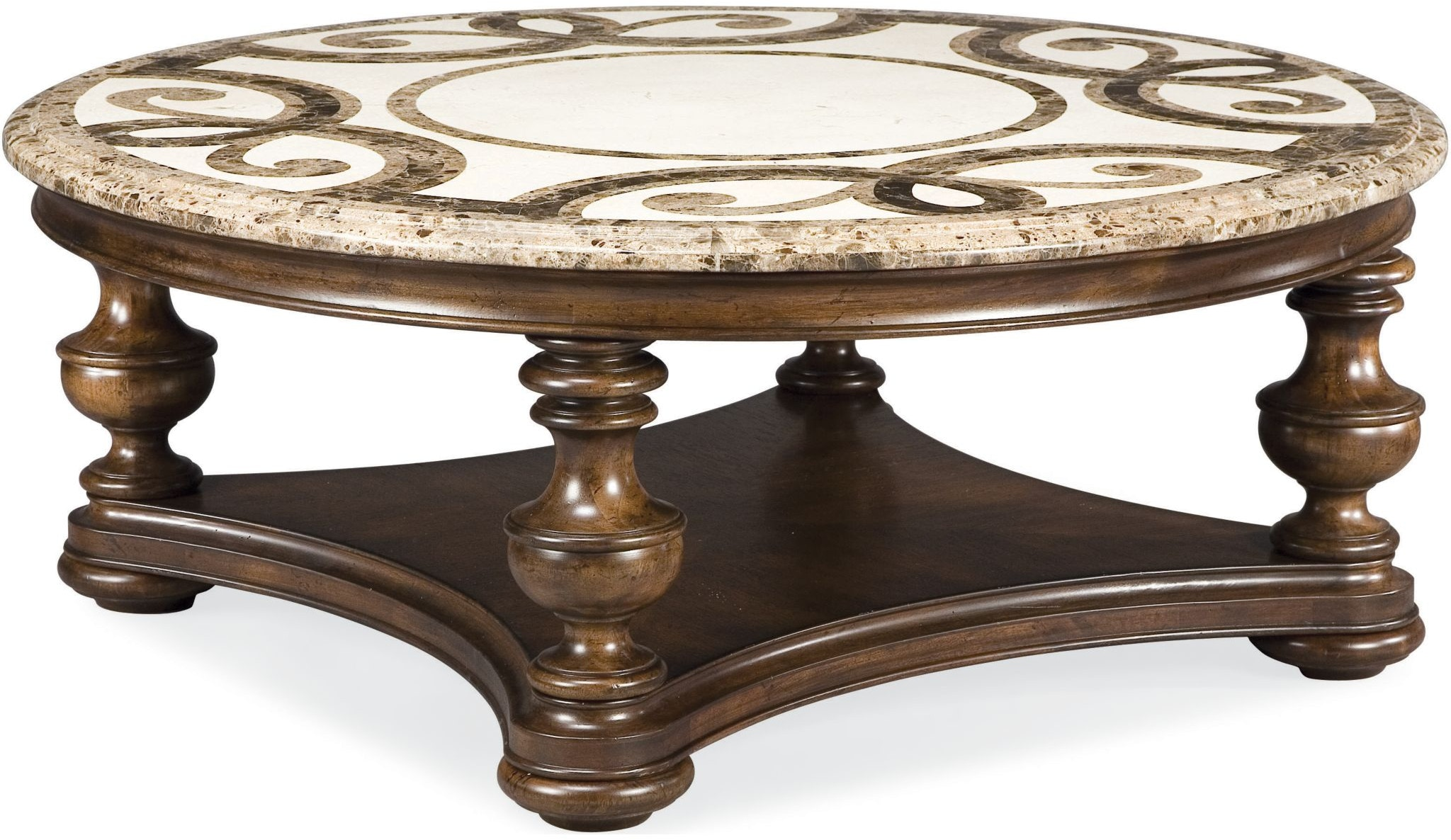 Thomasville Living Room Trebbiano Round Cocktail Table Stone Top