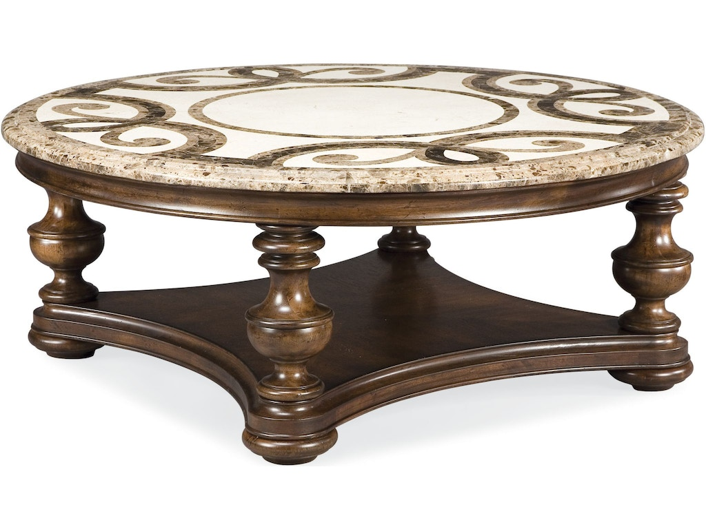 Thomasville living room trebbiano round cocktail table stone top 43632 173 hickory furniture Round coffee table in living room