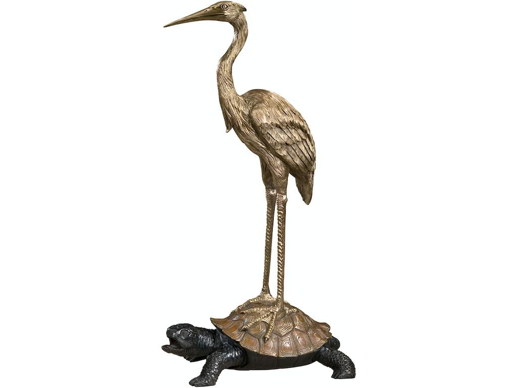 Theodore Alexander Accessories Symbolic Crane On Turtle TH1023101 Walter E   Smithe Furniture + Design