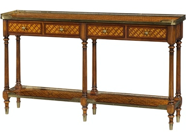 A Burl Lattice Parquetry Br Mounted Console Table