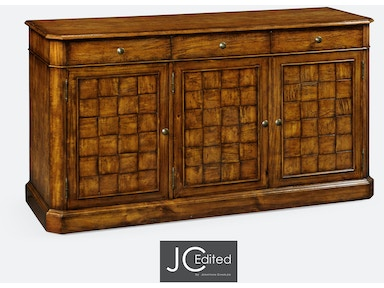 "Jonathan Charles 68"" Country Walnut Three Door Sideboard 491001-CFW"