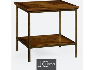 Jonathan Charles Country Walnut Square End Table With Light Bronze Base 491002-CFW