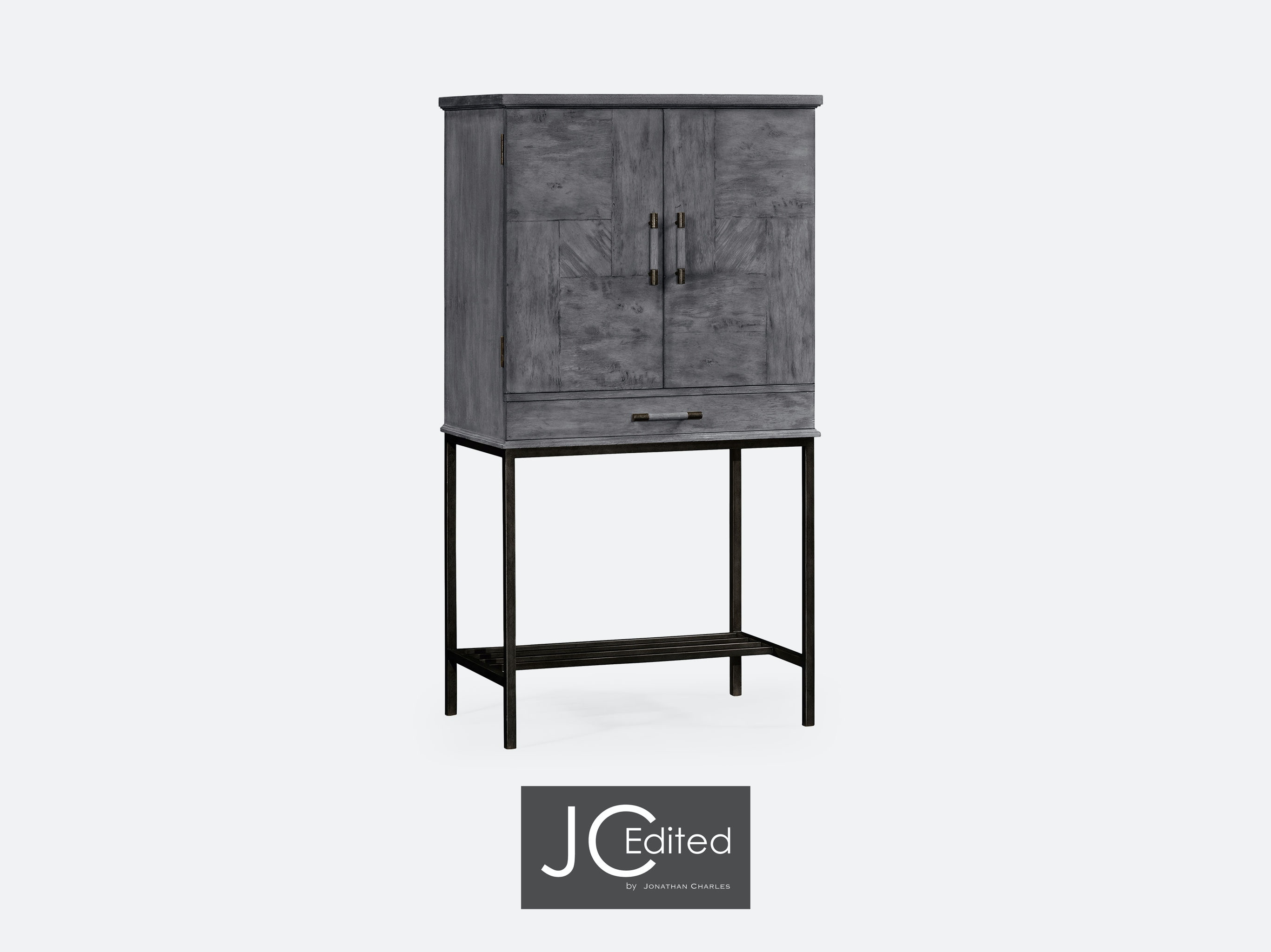 Jonathan Charles Antique Dark Grey Drinks Cabinet With Grey Silver Base  491003 ADG