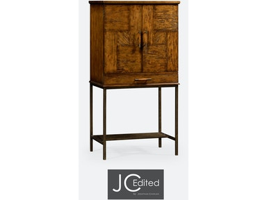 Jonathan Charles Country Walnut Drinks Cabinet With Light Bronze Base 491003-CFW