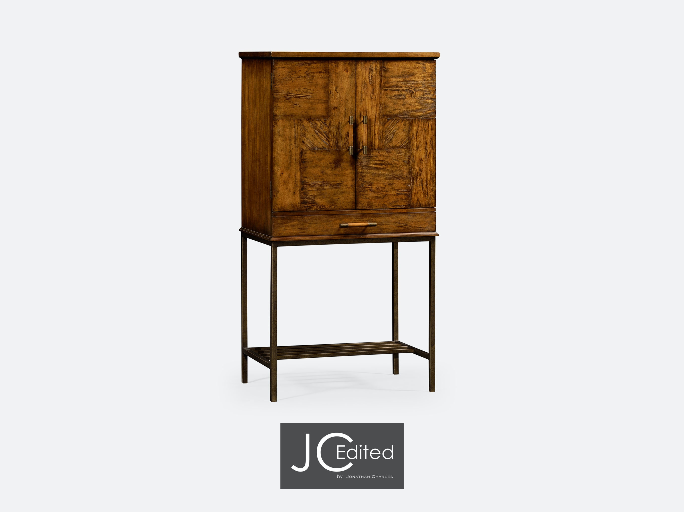 Jonathan Charles Country Walnut Drinks Cabinet With Light Bronze Base  491003 CFW