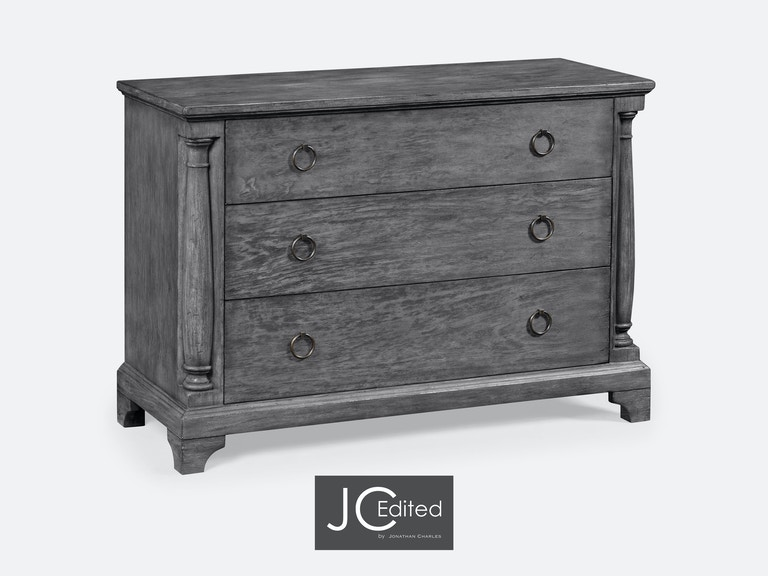 Jonathan Charles Antique Dark Grey Large Chest Of Drawers 491004-ADG - Jonathan Charles Bedroom Antique Dark Grey Large Chest Of Drawers
