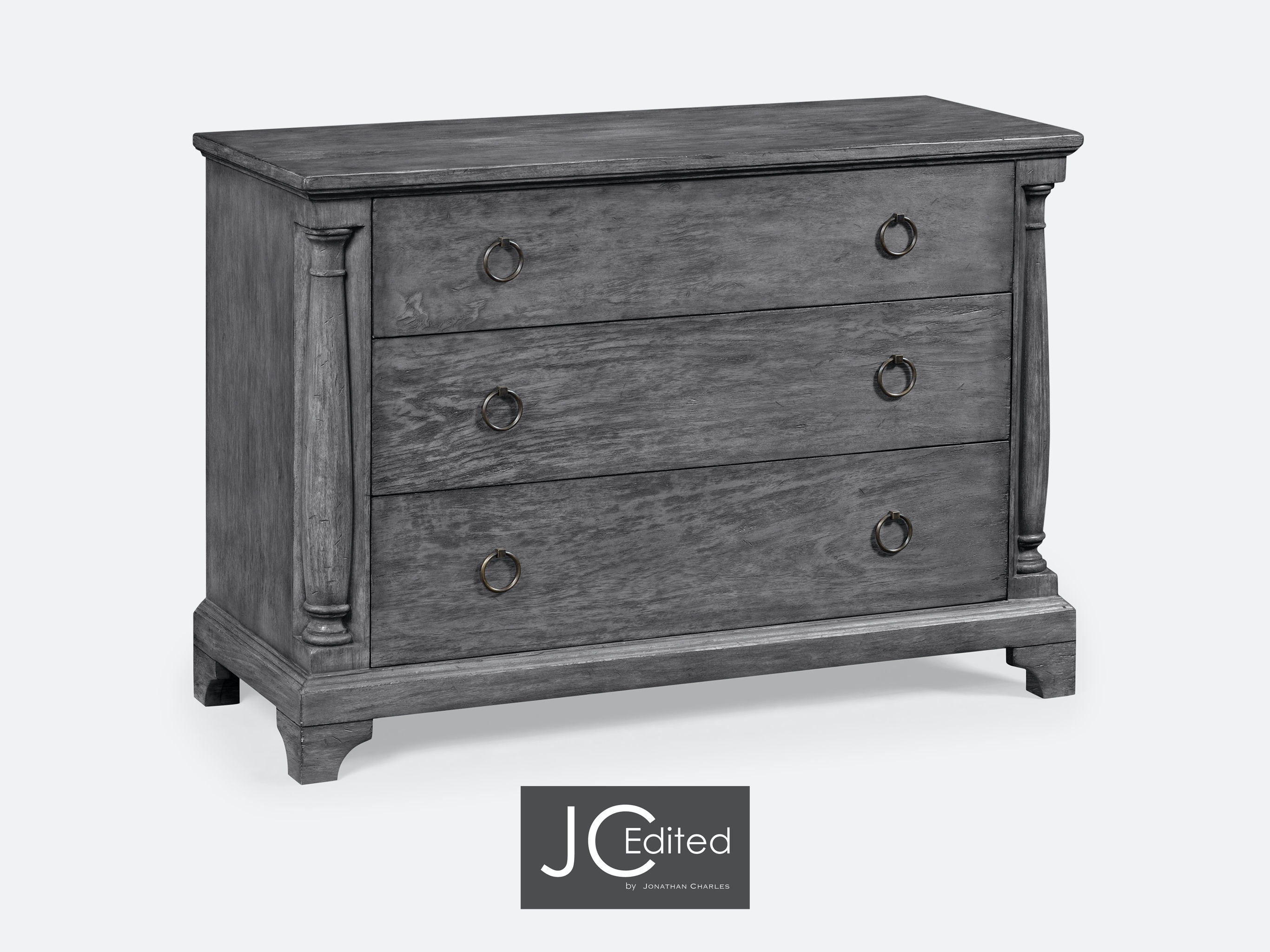 Jonathan Charles Antique Dark Grey Large Chest Of Drawers 491004 ADG