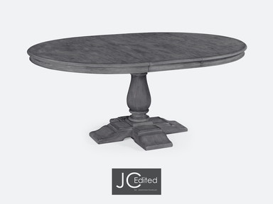 "Jonathan Charles 55"" Circular Extending Dining Table In Antique Dark Grey 491009-55D-ADG"
