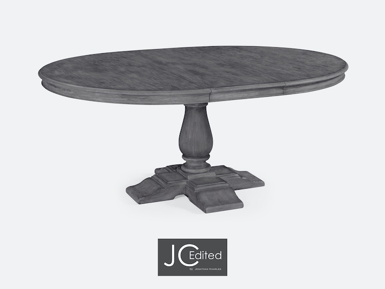 Jonathan Charles Dining Room Circular Extending Dining Table In - Grey round extending dining table