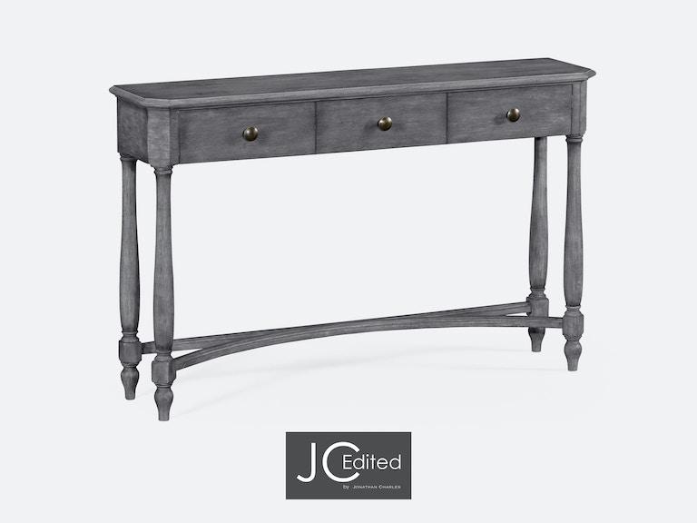 Jonathan Charles Antique Dark Grey Three Drawer Large Console Table  491010-ADG - Jonathan Charles Living Room Antique Dark Grey Three Drawer Large