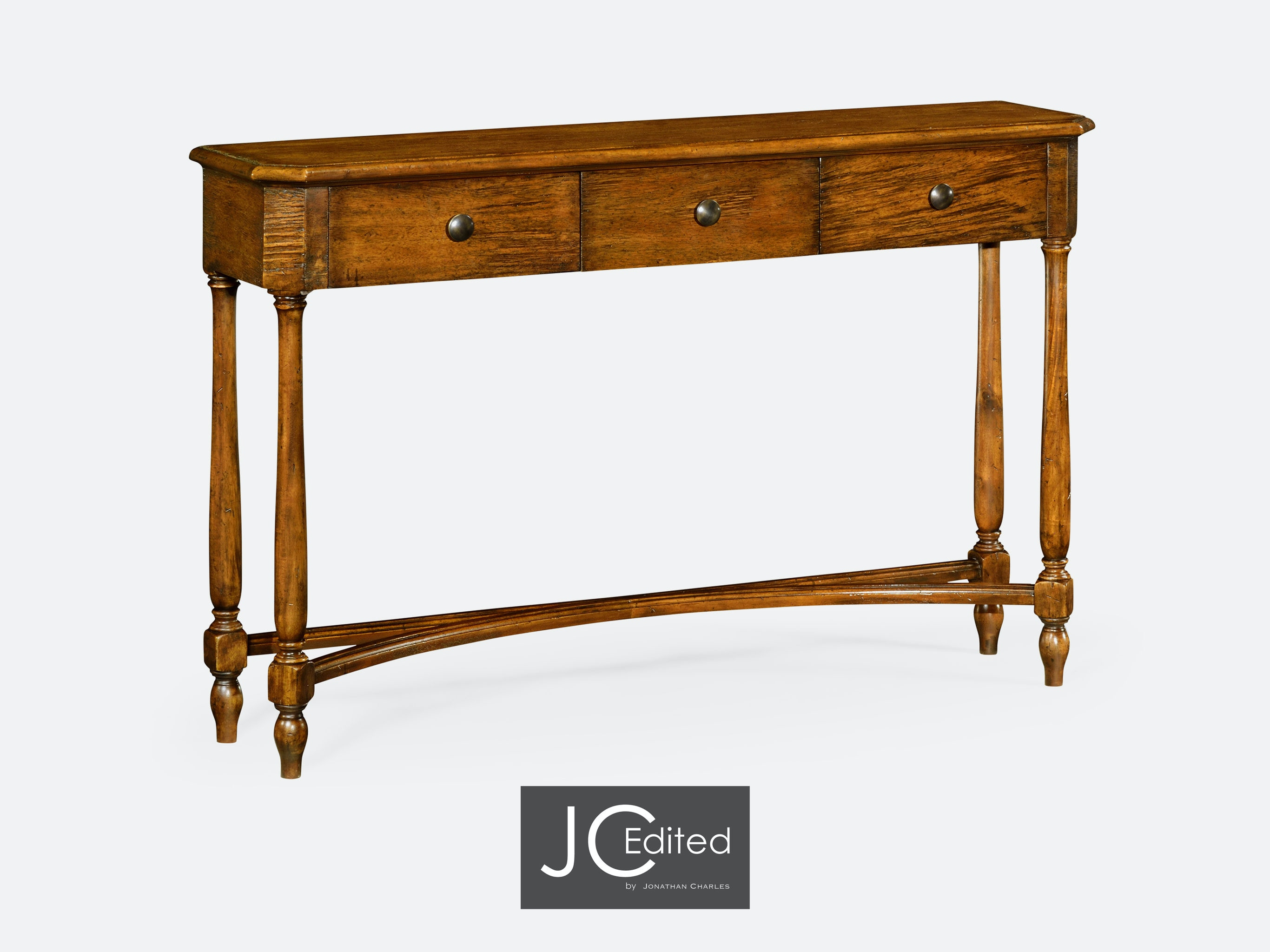 Jonathan Charles Country Walnut Three Drawer Large Console Table 491010 CFW