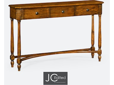 Jonathan Charles Country Walnut Three Drawer Large Console Table 491010-CFW
