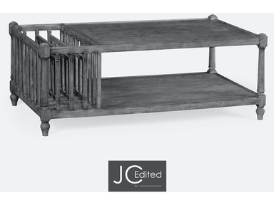 Jonathan Charles Antique Dark Grey Rectangular Coffee Table With Magazine Rack 491012-ADG