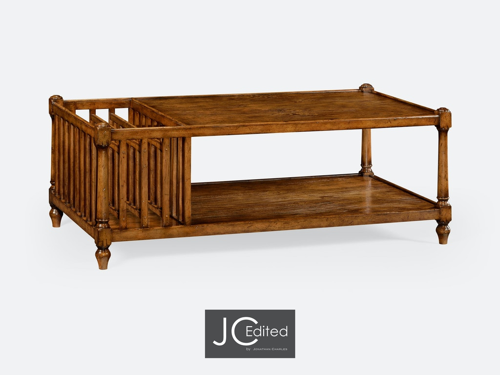Jonathan Charles Living Room Country Walnut Rectangular Coffee Table With Magazine Rack Qj491012cfw Walter E Smithe Furniture Design