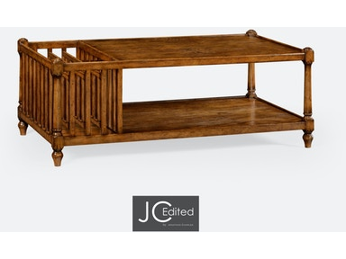 Jonathan Charles Country Walnut Rectangular Coffee Table With Magazine Rack 491012-CFW