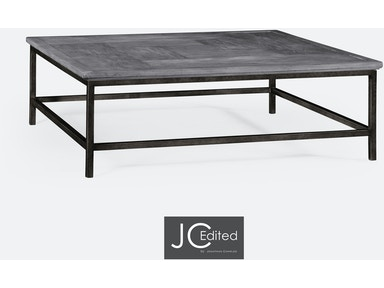 Jonathan Charles Antique Dark Grey Square Coffee Table With Iron Base 491014-ADG
