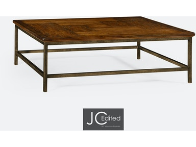Jonathan Charles Country Walnut Square Coffee Table With Light Bronze Base 491014-CFW