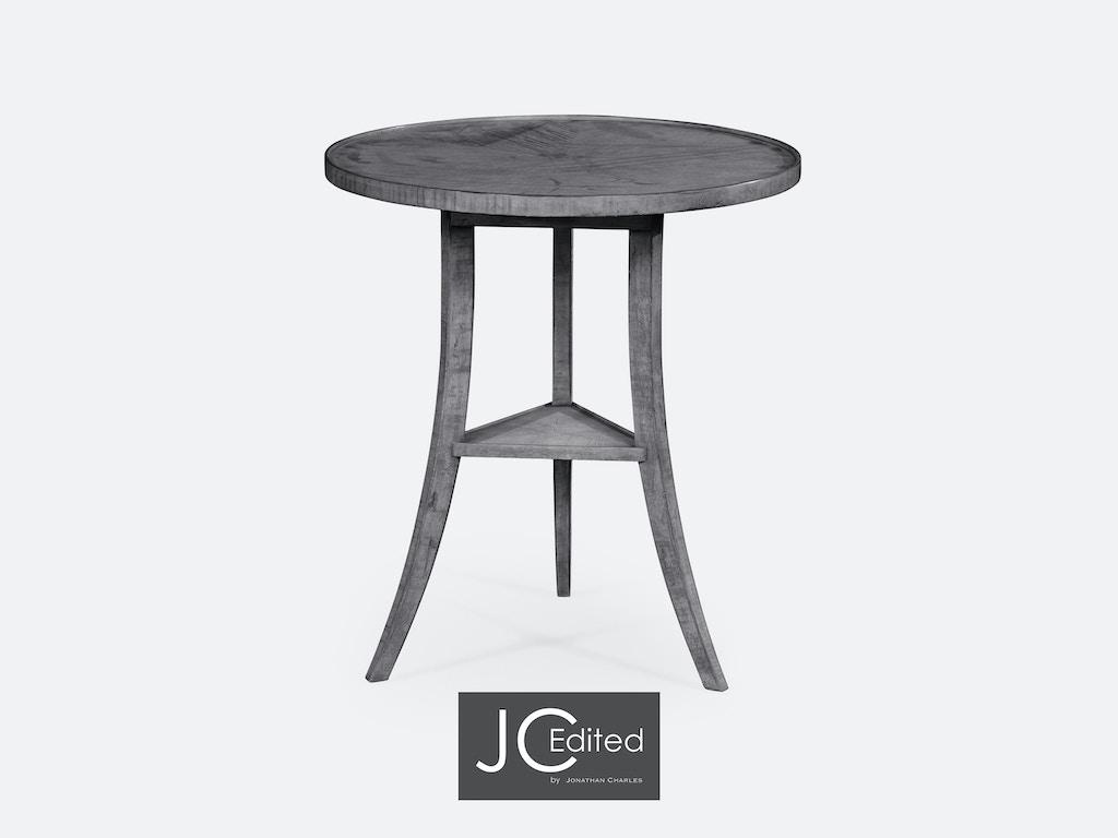 Antique Dark Grey Round Lamp Table Qj491022adg