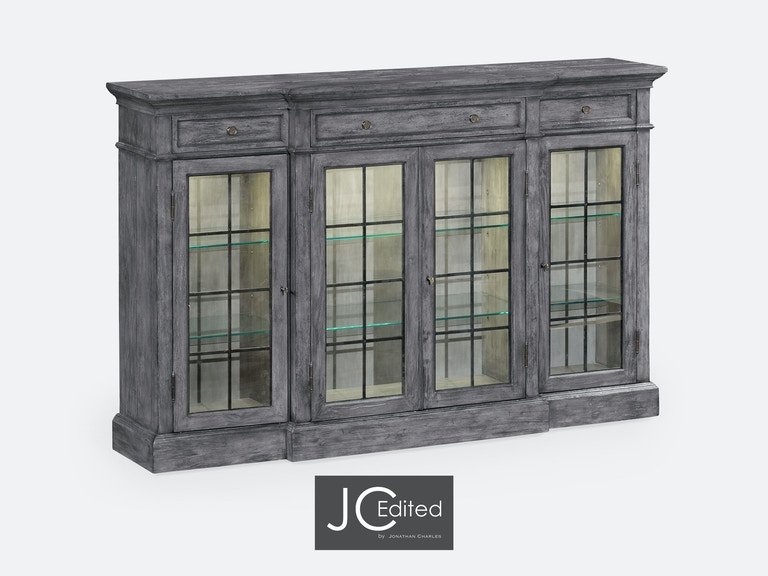 Jonathan Charles Four Door China Display Cabinet In Antique Dark Grey 491027 ADG