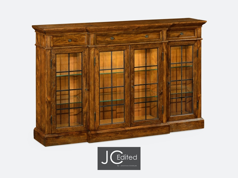 Jonathan Charles Four Door China Display Cabinet In Rustic Walnut Qj491027cfw From Walter E Smithe