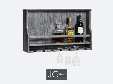 Jonathan Charles Wall Hanging Wine Rack In Antique Dark Grey 491038-ADG