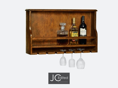 Jonathan Charles Wall Hanging Wine Rack In Country Walnut 491038-CFW