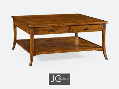 Jonathan Charles Square Coffee Table In Country Walnut 491041-CFW