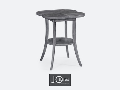 Jonathan Charles Quatrefoil Lamp Table In Antique Dark Grey 491043-ADG