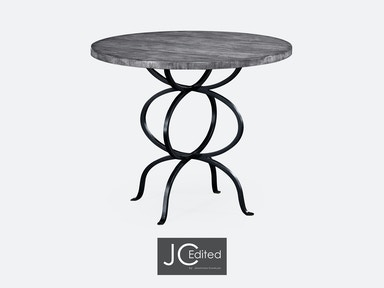 Jonathan Charles Antique Dark Grey Bistro Style Panelled Round Centre Table 491045-ADG