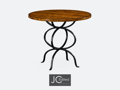 Jonathan Charles Country Walnut Bistro Style Panelled Round Centre Table 491045-CFW