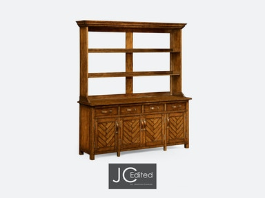 Jonathan Charles Country Walnut Parquet Welsh Dresser With Strap Handles 491066-CFW