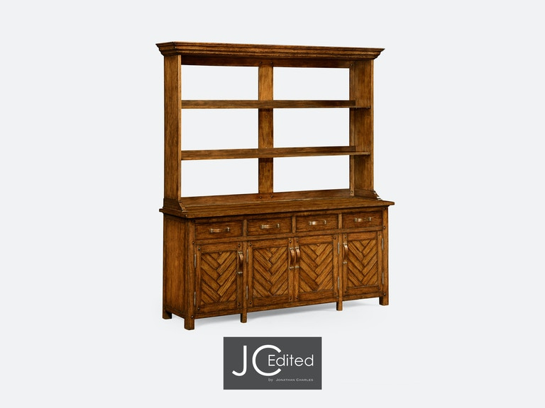 Jonathan Charles Dining Room Country Walnut Parquet Welsh Dresser With Strap Handles 491066 CFW At Gormans
