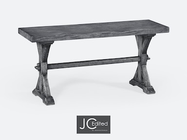 Jonathan Charles Narrow Solid Antique Dark Grey Topped Bench 491088-ADG