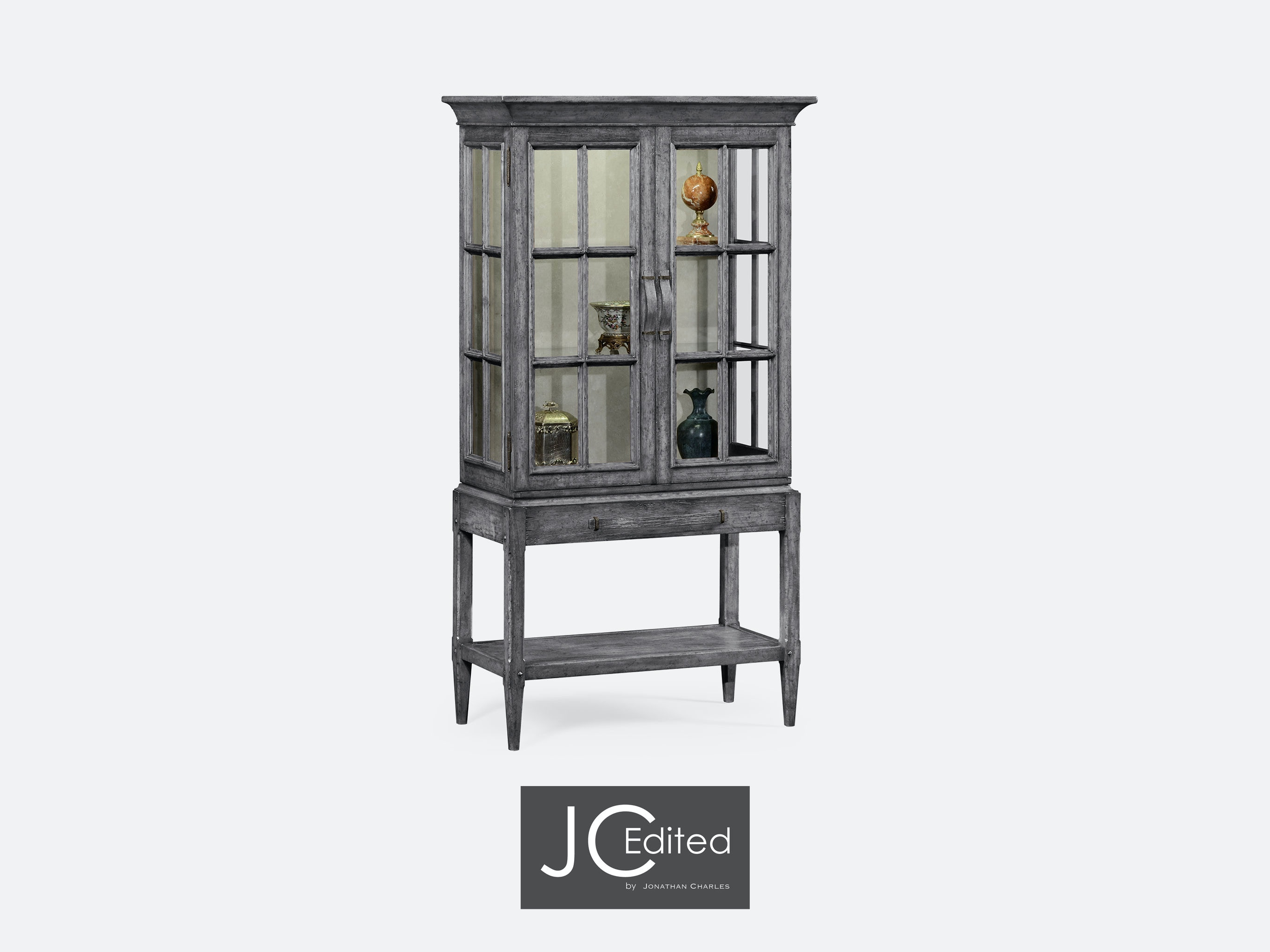 Jonathan Charles Antique Dark Grey Glazed Display Cabinet With Strap  Handles QJ491094ADG