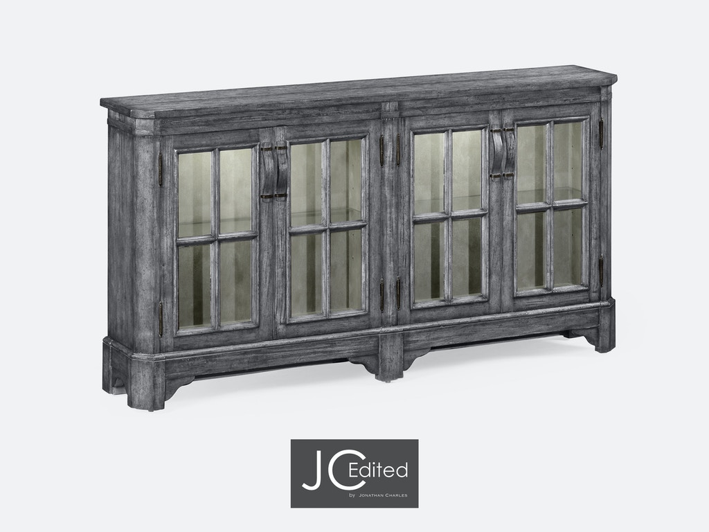 Jonathan Charles Dining Room Antique Dark Grey Parquet Welsh Dresser With Strap Handles 491095 ADG At Louis Shanks