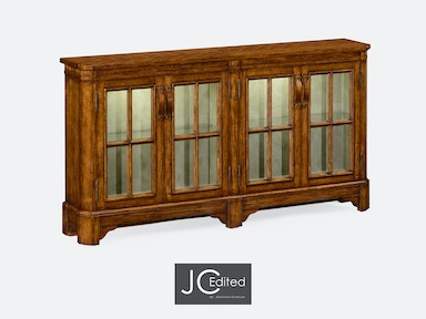 Jonathan Charles Country Walnut Parquet Welsh Dresser With Strap Handles 491095-CFW