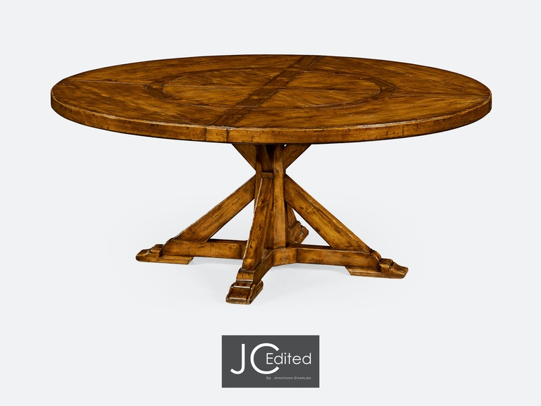 72 Country Walnut Round Dining Table Inbuilt Lazy Susan