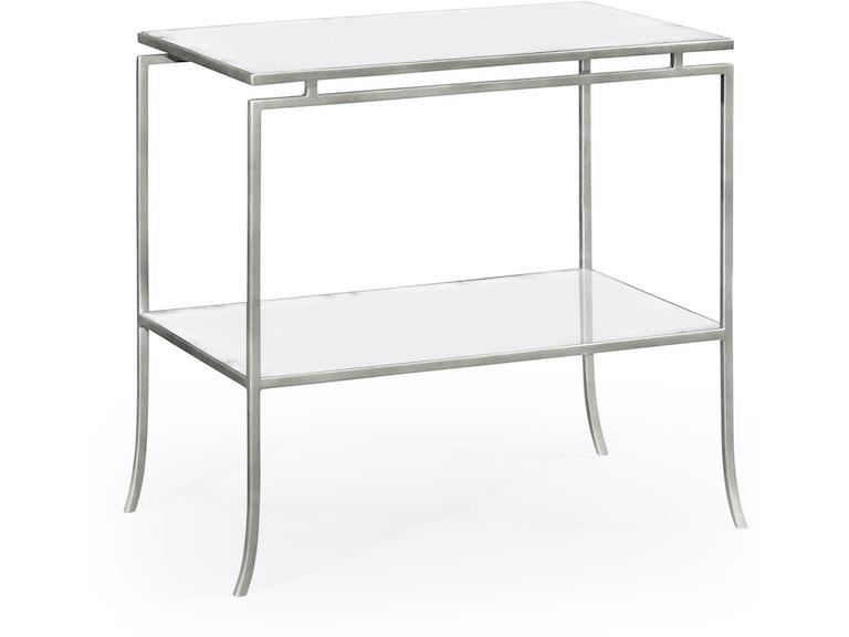 Jonathan Charles Silver Iron Rectangular Side Table 491106 S Gam