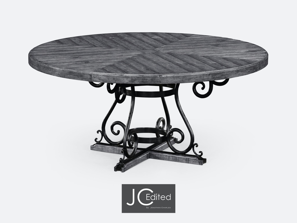 Jonathan Charles Dining Room 66 Antique Dark Grey And Wrought Iron Dining Table 491125 66d Adg